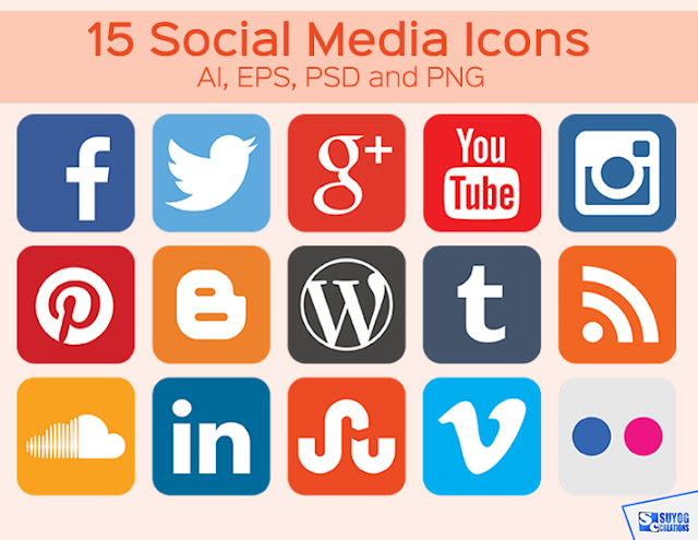 New 15 Social Media icon set Free Download