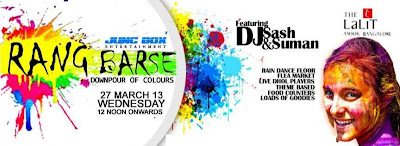 Rang Barse special holi events in Bangalore