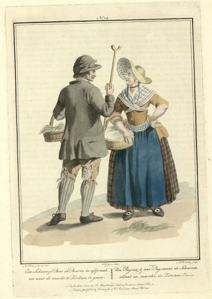 illustration of famer meeting peasant woman on the way to the market