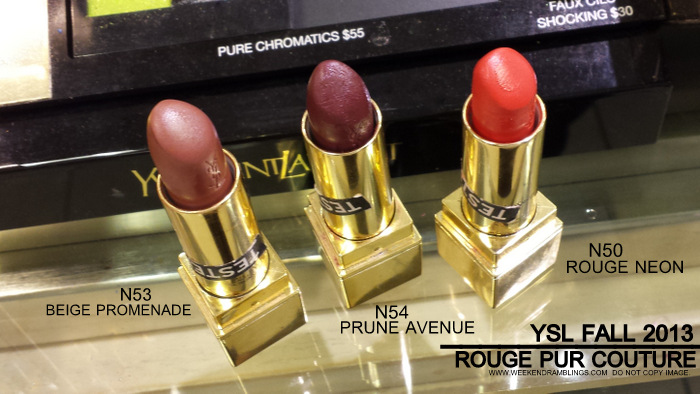 YSL Fall 2013 Citry Drive Makeup Collection Rouge Pur Couture Lipsticks N53 Beige Promenade 54 Prune Avenue 50 Rouge Neon 51 Corail Urbane Beauty Blog Photos Swatches