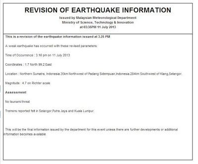 Gempa Bumi 11 Julai : Gegaran di Kuala Lumpur & Klang
