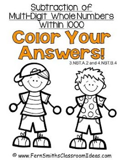 Fern Smith's Classroom Ideas Subtraction Multi-Digit Numbers Within 1000 - Color Your Answers Printables