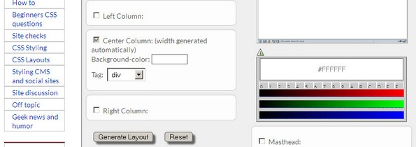 CSS Creator Layout Generator