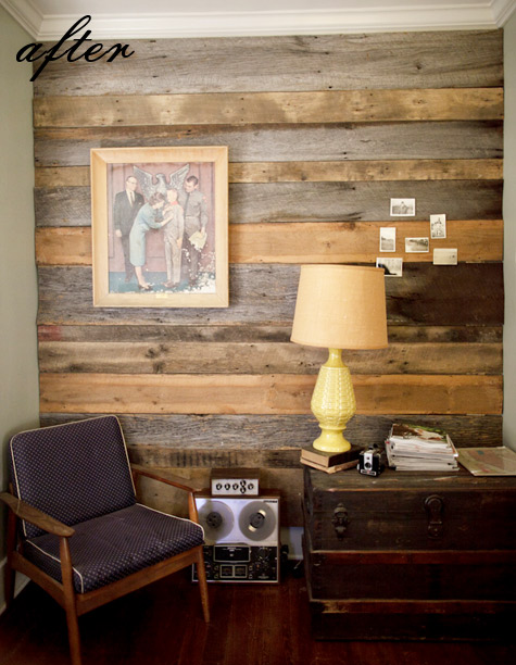 Wall covered in barnwood