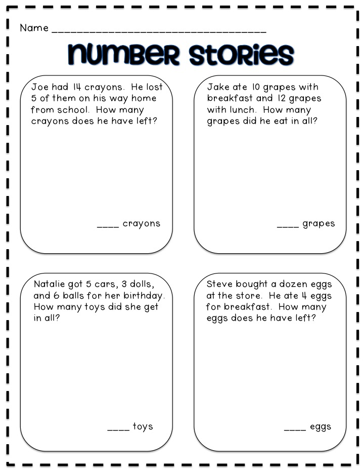 subtraction number stories 1st grade worksheets success Success