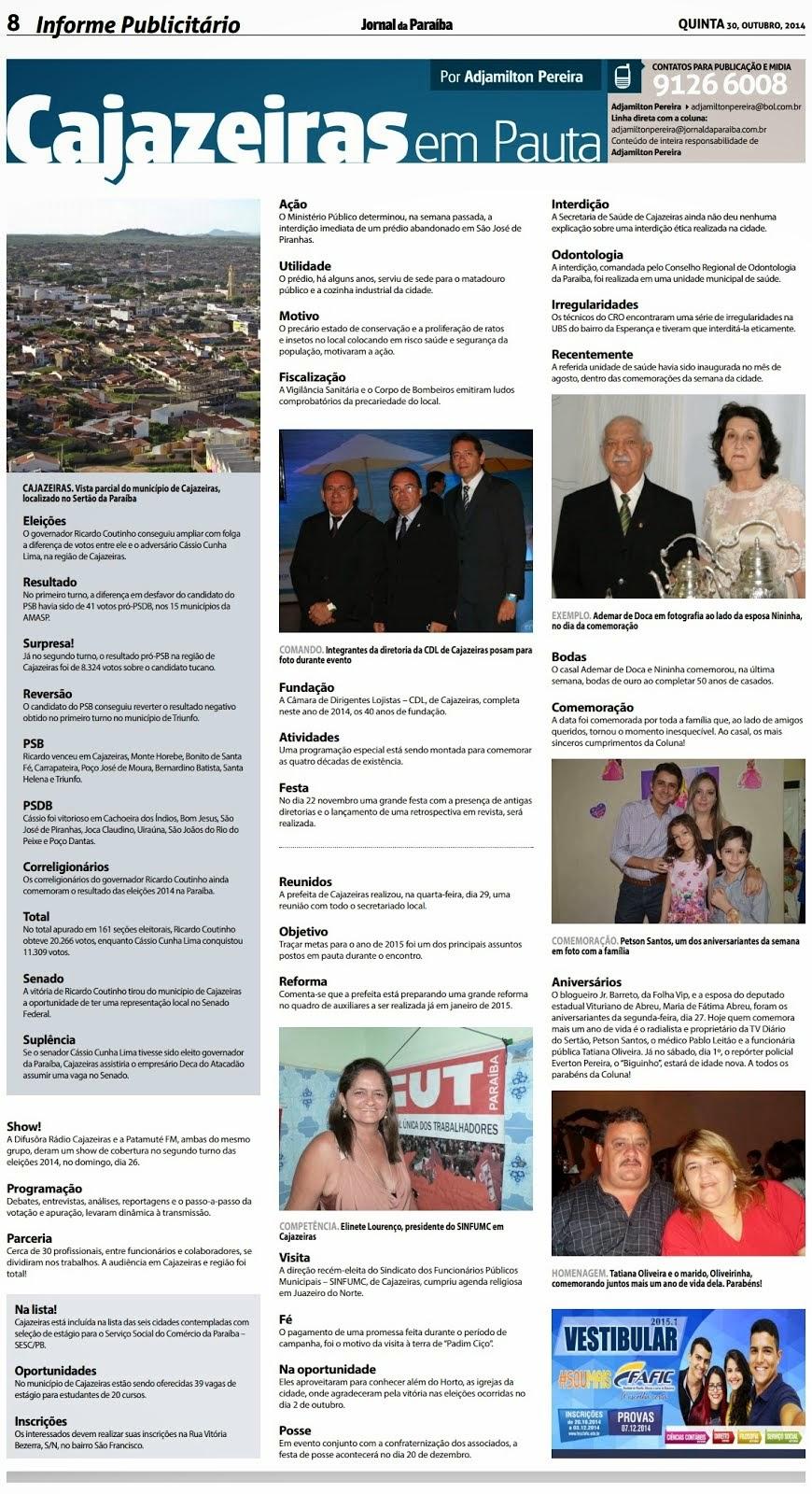"""Coluna """"Cajazeiras em Pauta"""" do jornalista Adjamilton Pereira. Leia!"""