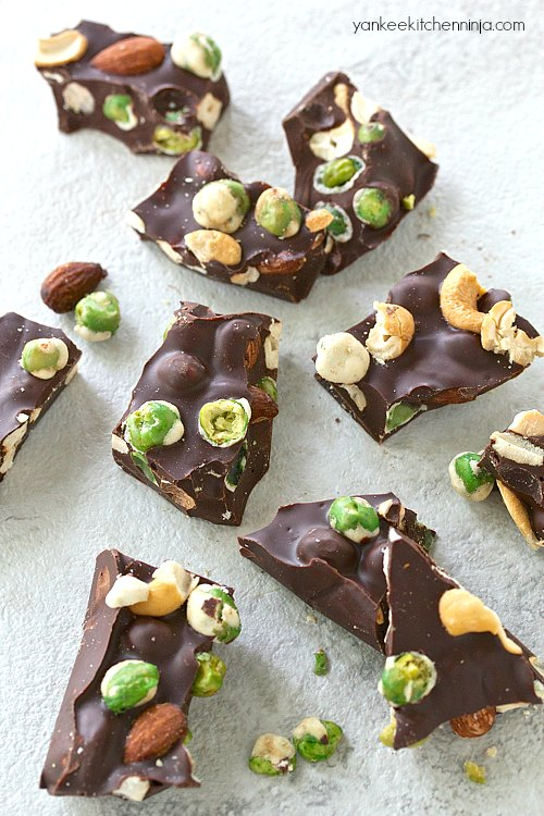 Wasabi pea chocolate bark with almonds and cashews