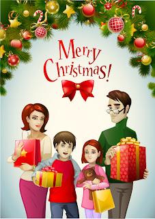 クリスマス・リースと家族 beautiful christmas wreath vector イラスト素材2