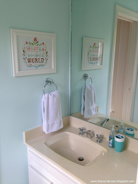 The cul de sac before and after kid 39 s bathroom for Benjamin moore tea light