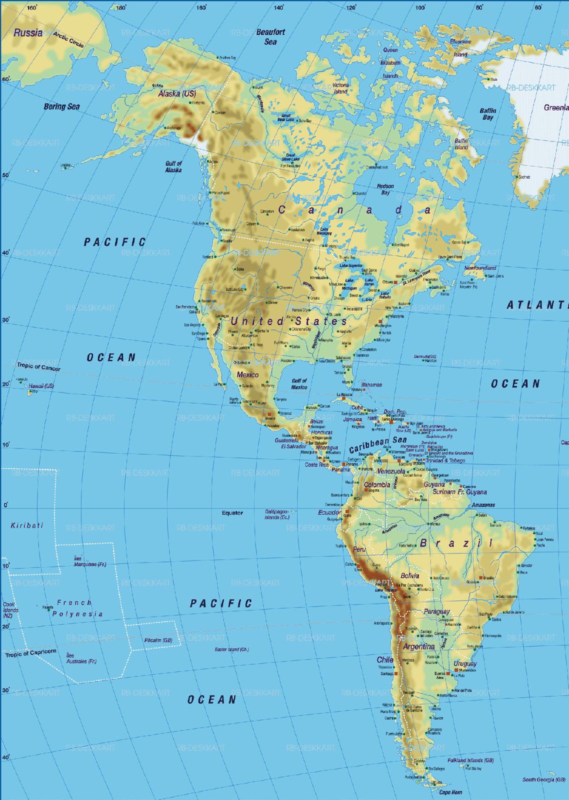 Gambar Peta Dunia Lengkap - Amerika