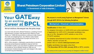 BPCL GATE 2016 Advertisement - indgovtjobs