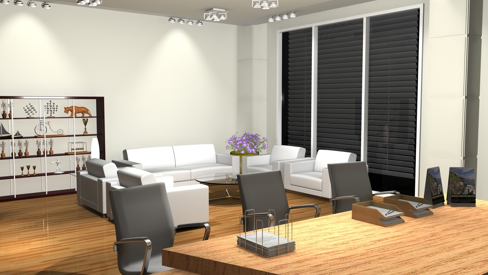 Sajid designs office room 3d interior design 3ds max for Office design 3d