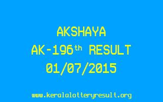 Akshaya AK 196 Lottery Result 1-7-2015