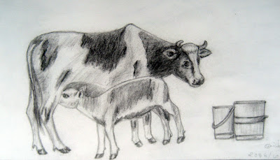 Sketch of a Cow and a Calf