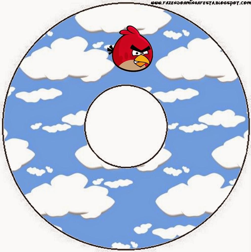 Etiquetas de Angry birds con Nubes para CD's.