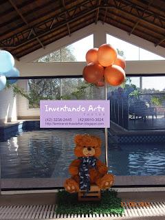 festa decoração ursos marrom azul