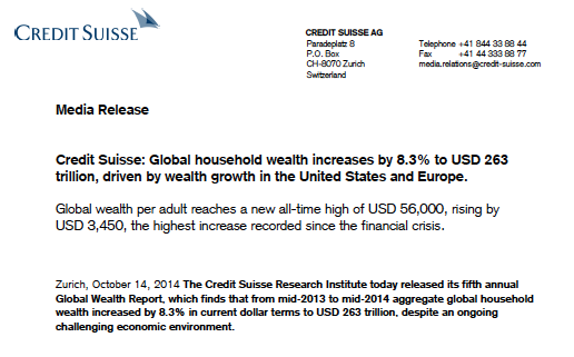 Crédit Suisse - global wealth report