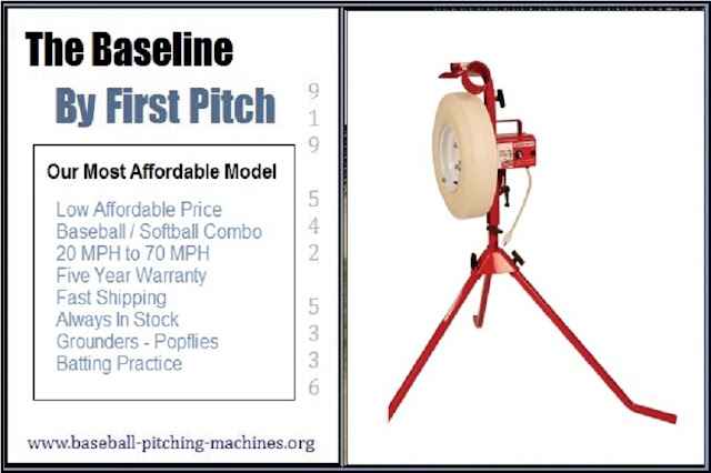 Baseline Pitching Machine - Our Most Affordable Full Size Baseball Softball Combo Pitching Machine