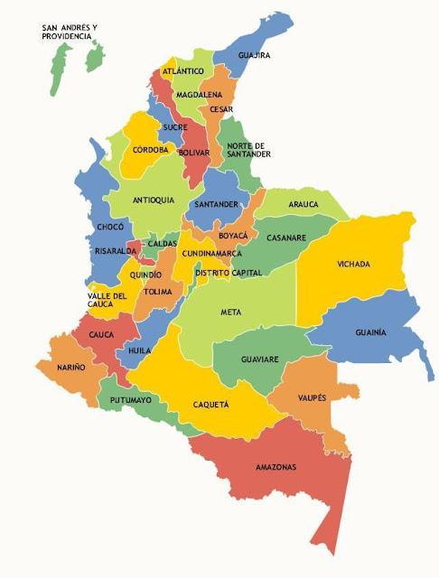 mapa de colombia con departamentos