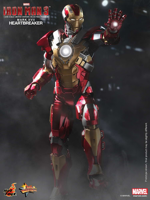"Hot Toys 1/6 Scale Iron Man 3 12"" Iron Man Mark XVII Heartbreaker Armor Figure"