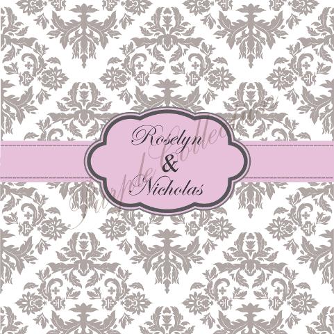 Square Card Floral Damask Design Wedding Invitation Cards, Square Card, Floral, Damask, Wedding, Invitation Card, Wedding Invitation Card, Roselyn & Nicholas, Roselyn, Nicholas, Grey Lilac
