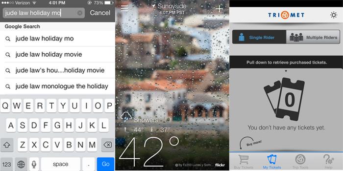 iPhone screenshots of Safari search, Yahoo! Weather, TriMet Mobile Ticketing