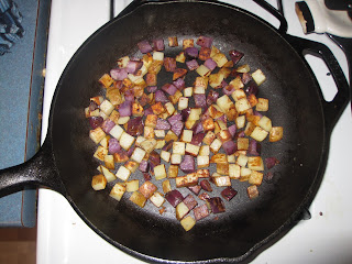 Blue Hash Browns in Cast Iron Skillet