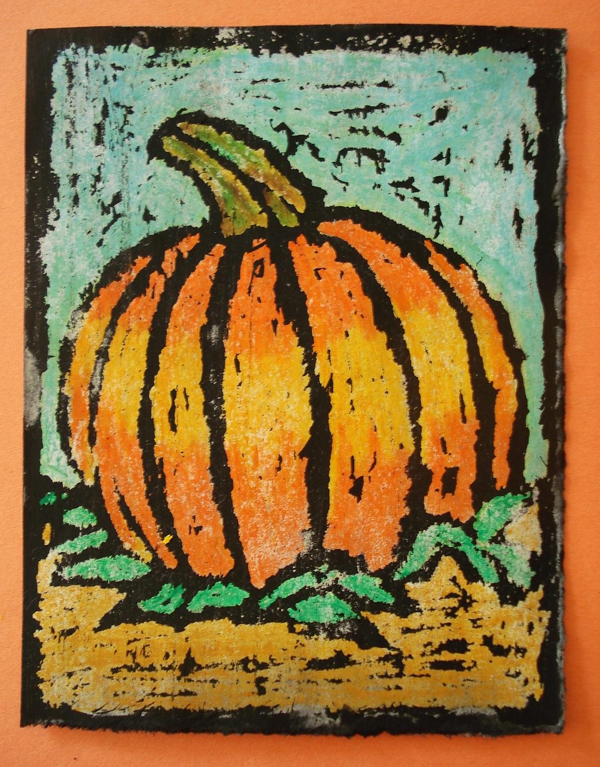 a faithful attempt oil pastel resist halloween art