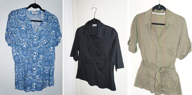 Lojinha da Carina Pedro no Enjoei: camisa longa azulejo português, camisa preta Barred's com babadinho, camisa verde militar Blue Steel