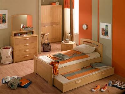 Dormitorio naranja infantil