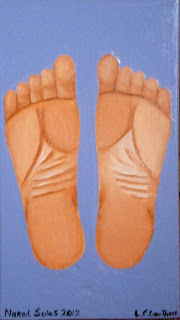 A woman's bare naked soles of her feet