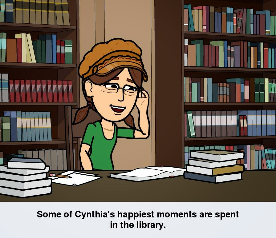 "Cartoon version of Cynthia M. Parkhill, created with Bitstrips app, stands at a table with books stacked on it. Shelved books are shown in background. Caption below the illustration reads, ""Some of Cynthia's happiest moments are spent in the library."""