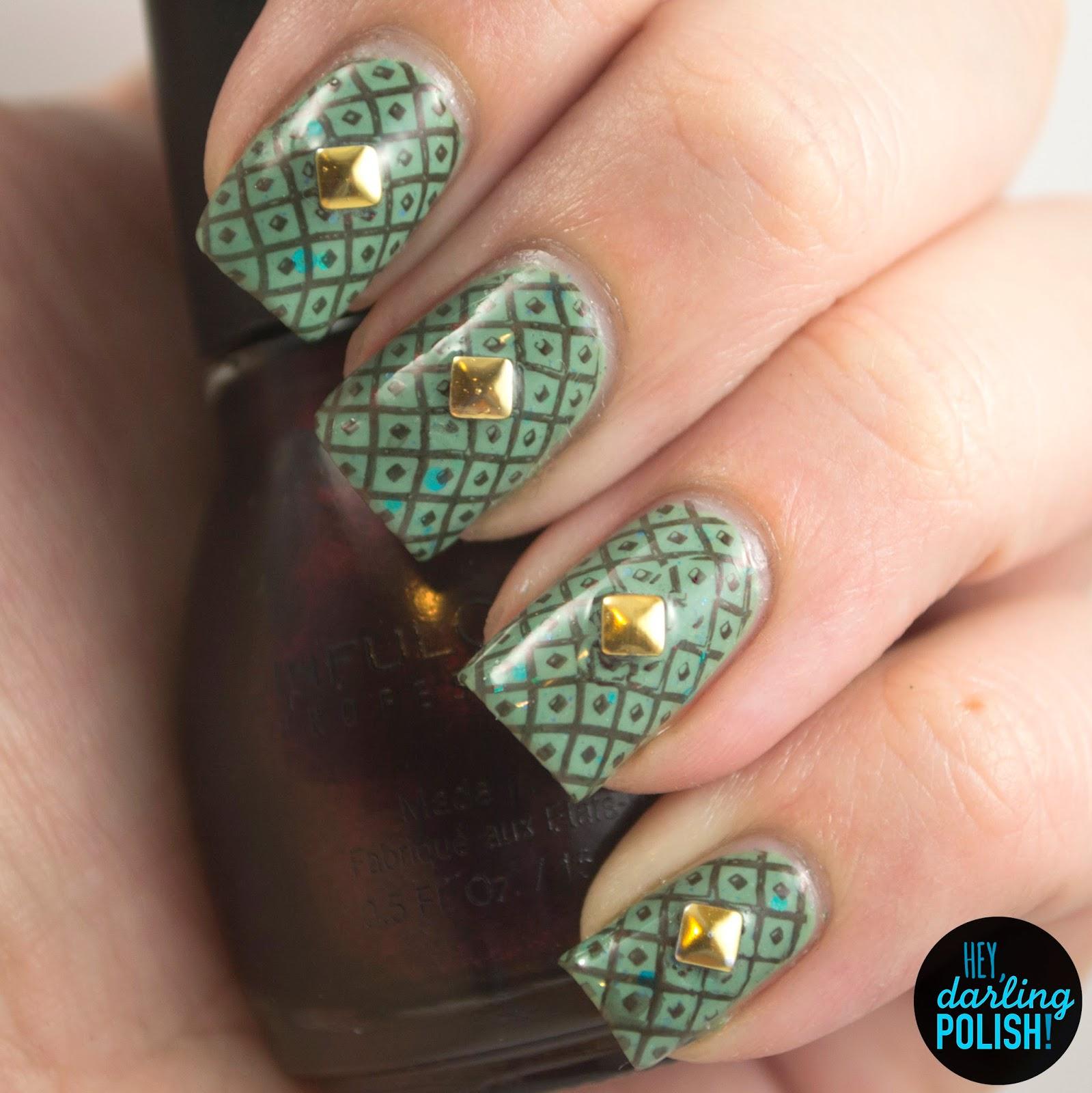 nails, nail art, nail polish, indie, indie nail polish, indie polish, green, stamping, gold, studs, the never ending pile challenge, tgpnpc, hey darling polish
