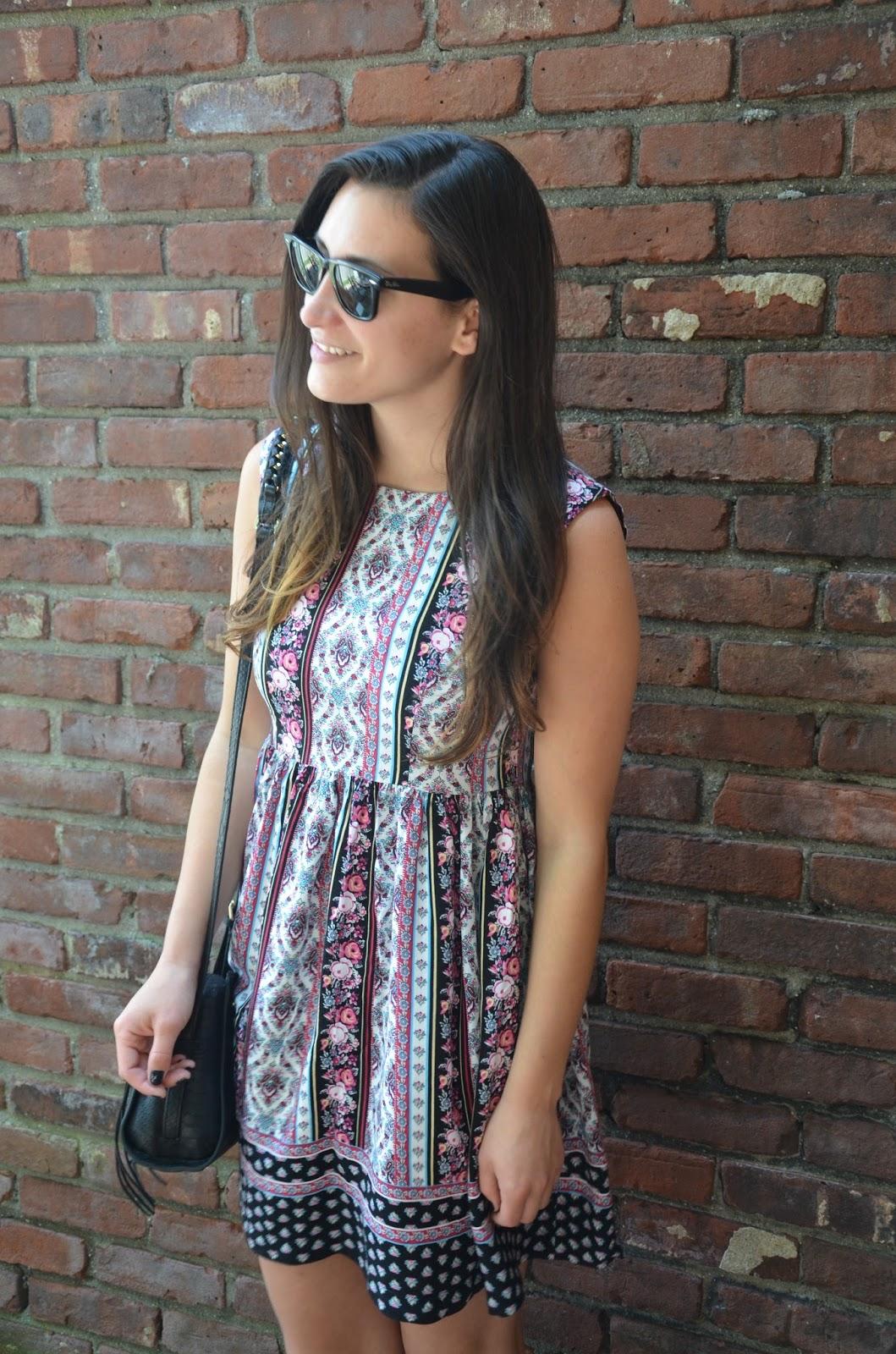 asos floral print smock dress