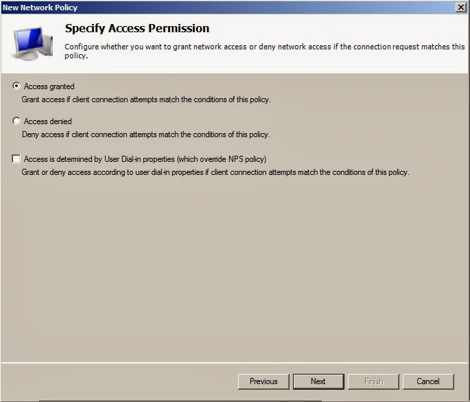 Network policy access permission