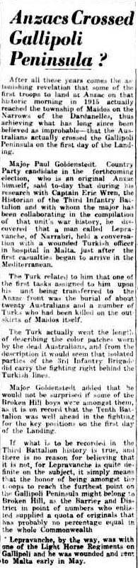 Anzacs Crossed the Gallipoli Peninsula to Maidos