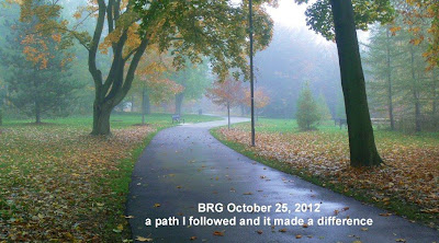 Fallen leaves on lawns, paved pathway leading to Godfreys Lane exit from BRG.