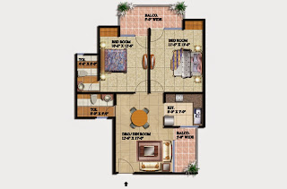 Livingston :: Floor Plans,Block E:-2 BHK (Type E)2 Bedroom, 2 Toilet, Kitchen, Dining, Drawing, 2 Balconies Super Area - 1050 Sq Ft
