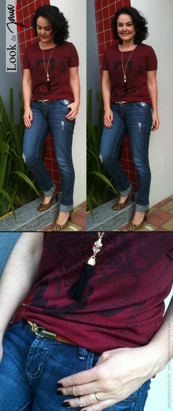 Look, jeans, camiseta, acessórios, janaacessorios, scarpin, onça