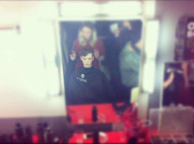 MALE MODEL HAIR JOHN LAWRENCE SULLIVAN FALL WINTER 2012 2013 BACKSTAGE PARIS MENS FASHION WEEK