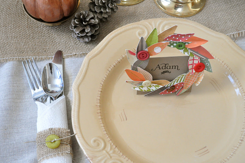 Fall wreath thanksgiving placecard and napkin ring tutorial little
