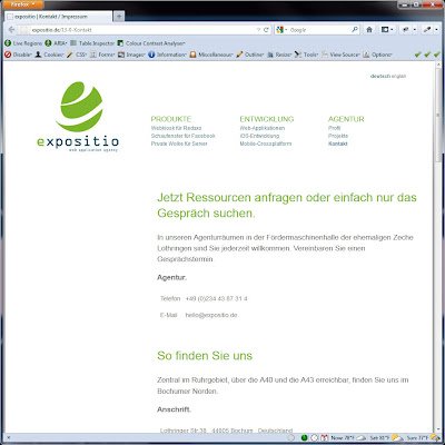 Screen shot of http://expositio.de/13-0-Kontakt.