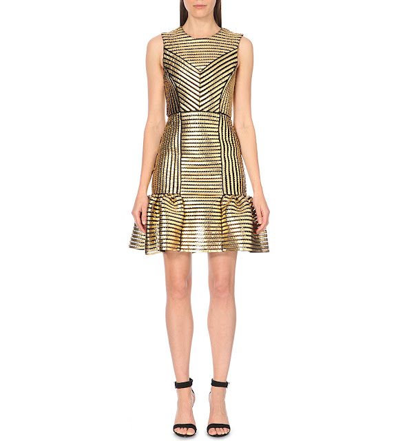maje gold black stripe dress, gold black striped dress,