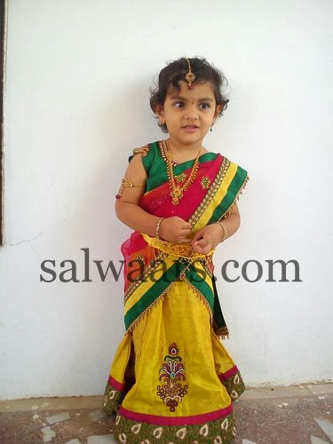 Pretty Baby in Silk Half Saree