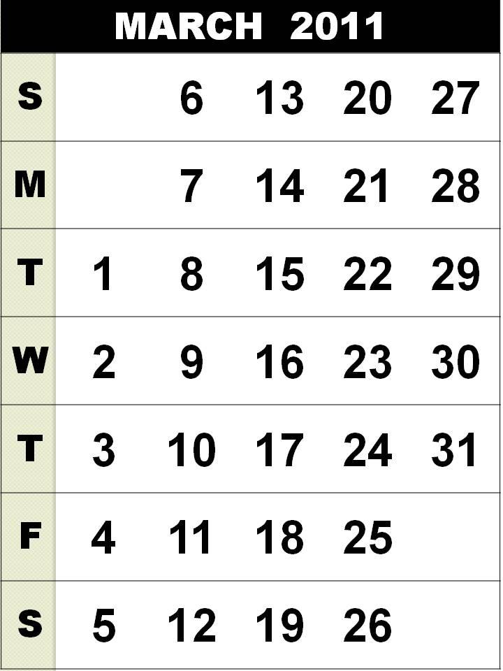 march calendar 2011. Free Homemade Calendar 2011