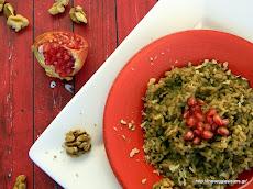 Ριζότο μανιταριών με καρύδι κ ρόδι Mushroom risotto with walnuts and pomengra