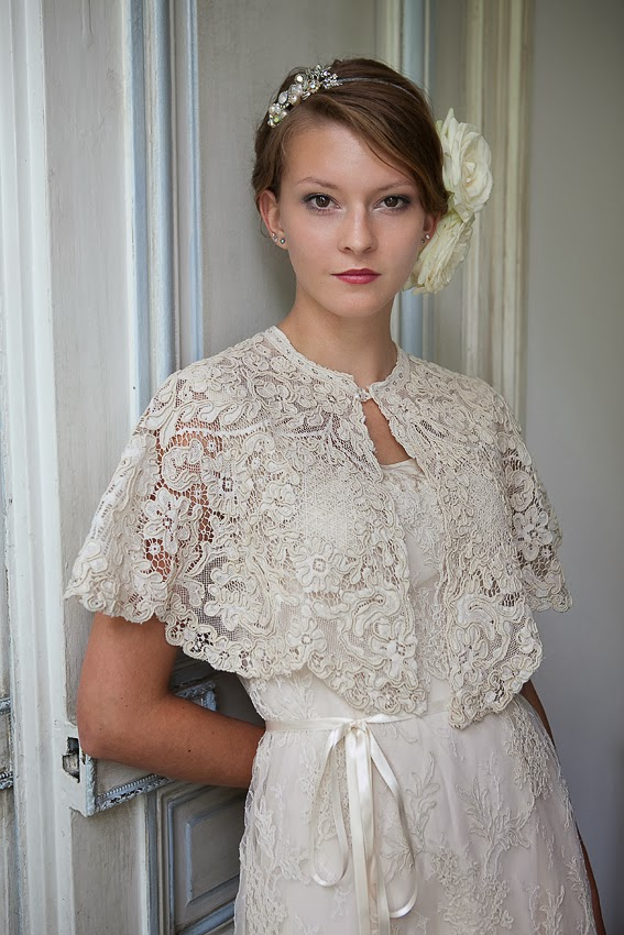 Victorian lace cape over lace wedding dress