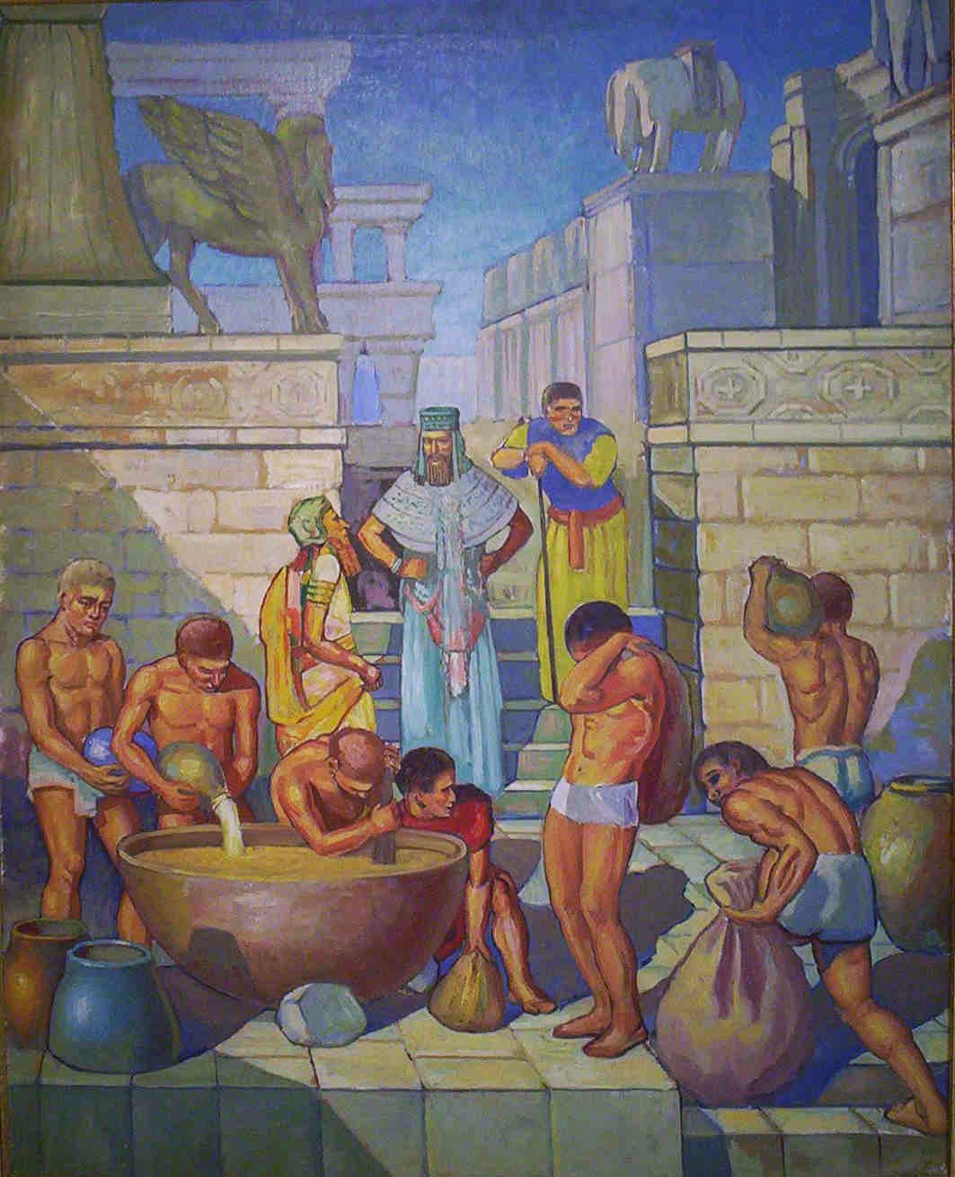 Ancient Babylonians brewing beer