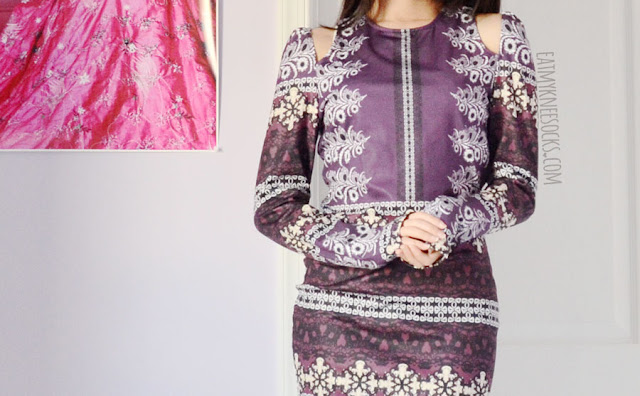 SheIn's purple floral tribal boho printed cutout bodycon dress, work with spiked Jeffrey Campbell Lita platform booties.