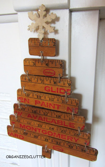 Vintage yardstick Christmas tree, by Organized Clutter featured on Funky Junk Interiors